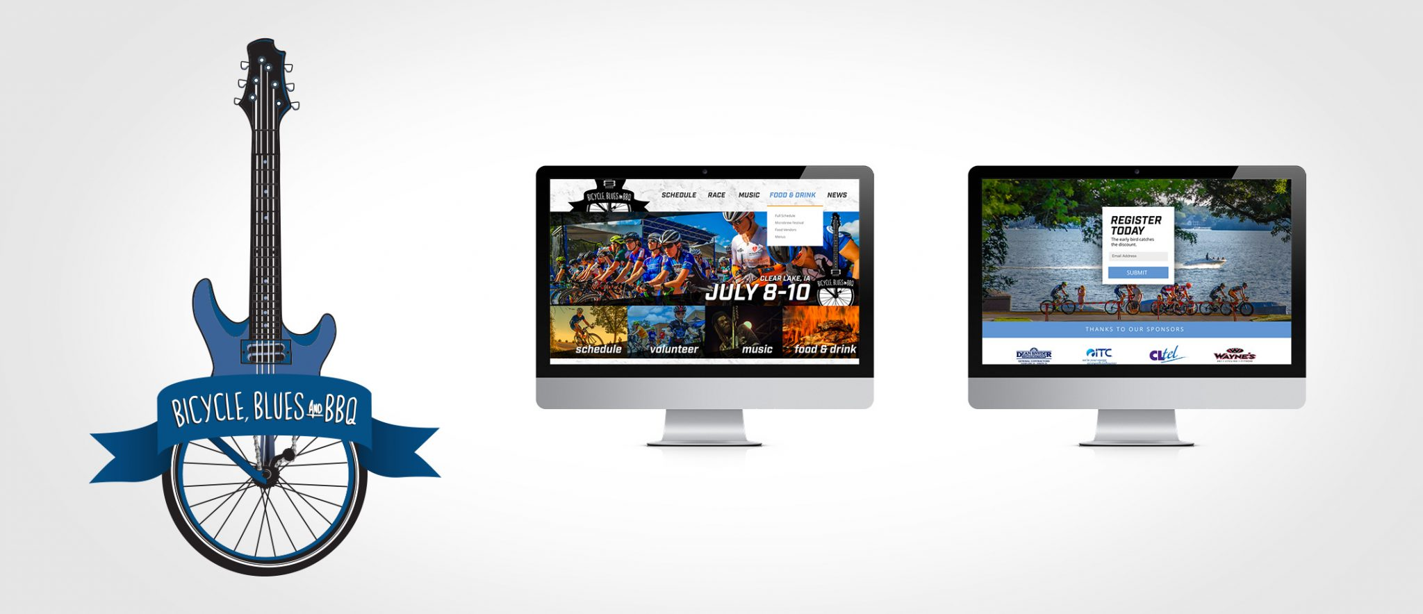 Logo and website design for the Blues, Bicycle and BBBQ Festival